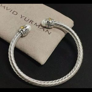 🌼DAVID YURMAN Silver Pearl Gold Cable Cuff DY